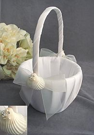 Rhinestone Shell Hawaiian Beach Wedding Flowergirl Basket
